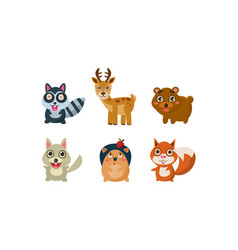flat set adorable forest animals vector image