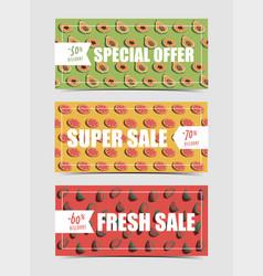 Fresh natural fruit food horizontal banners set vector