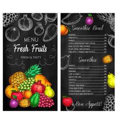 Fruit smoothie cafe chalkboard menu cover vector