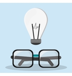 Glasses bulb idea innovation creative vector