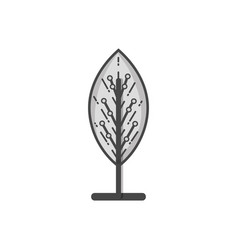 Grayscale virtual reality tree with circuits vector