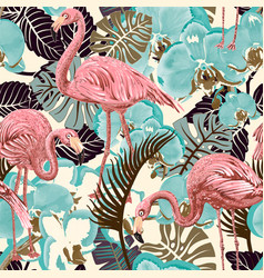 Green and pink seamless floral pattern vector