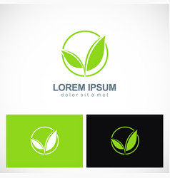 Green leaf plant seed logo vector