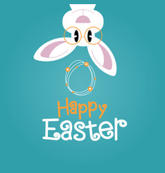 greeting card with with easter rabbit vector image