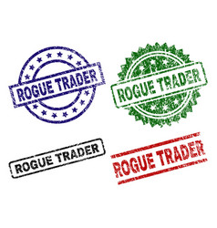 Grunge textured rogue trader seal stamps vector
