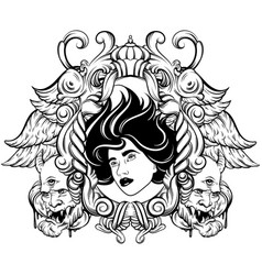 Hand drawn surreal woman face devil and ornate vector