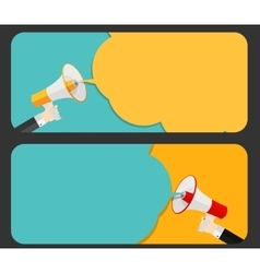 Hand with Megaphone and Speech Bubble vector