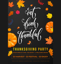 happy thanksgiving holiday party autumn fall vector image