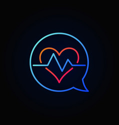 heartbeat in blue speech bubble outline vector image