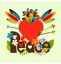 Hippie with heart vector