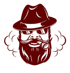 hipster face with mustache vector image