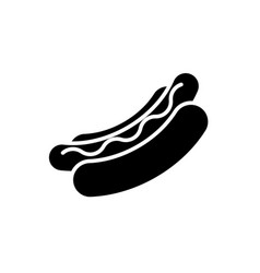 hot dog black icon on white background fastfood vector image