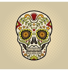Human skull with patterns comic book vector