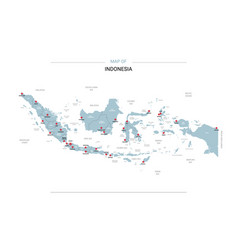 Indonesia map with red pin vector