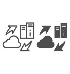 information sharing line and glyph icon cloud vector image