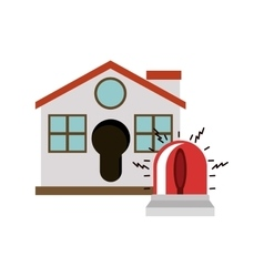 Isolated house and alarm design vector image