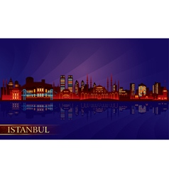 Istanbul city night skyline vector