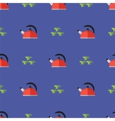 Kitchen Kettle Seamless Pattern vector image