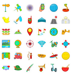 leisure activites icons set cartoon style vector image