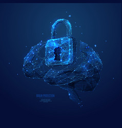 lock and brain low poly blue vector image