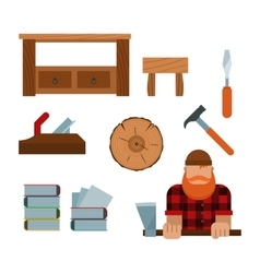 Lumberjack and woodworking tools icons vector image