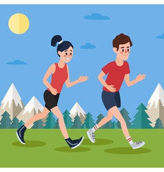 Man and Woman Running in the Woods and Mountains vector image vector image
