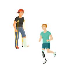 Man having broken leg sportsman with prosthesis vector