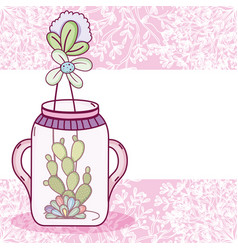 Mason jar flowers pot card vector