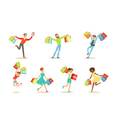 men and women enjoy shopping vector image