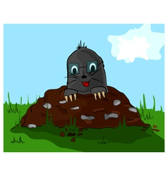 Mole on molehill vector