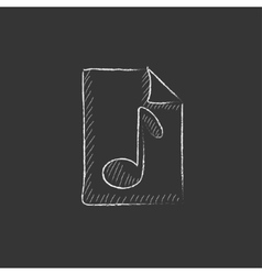 Musical note drawn on sheet Drawn in chalk icon vector