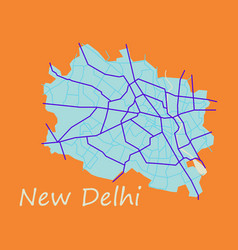 New delhi map flat style design - vector