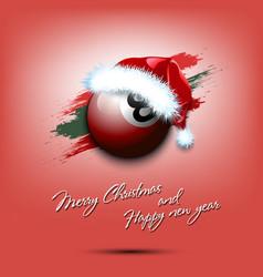 new year and billiard ball in santa hat vector image