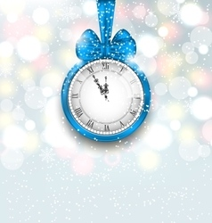 New Year Midnight Shimmering Background with Clock vector