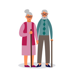 old couple cartoon characters walking flat vector image