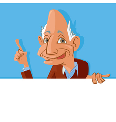 old man holding blank sign vector image