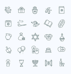 outline icon collection - symbols of hanukkah vector image