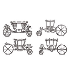 Outline set royal horse chariot carriages vector
