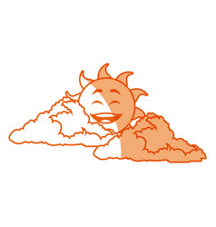 outlined sunny face smiling behind a cloud vector image