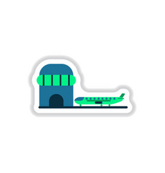 paper sticker on white background airplane airport vector image