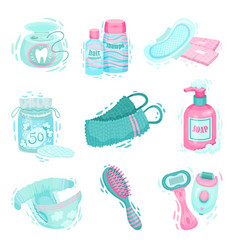 Personal hygiene items with dental floss and vector