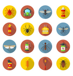 Pest control icon set vector