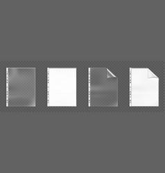 plastic punched pockets empty folders mock up set vector image