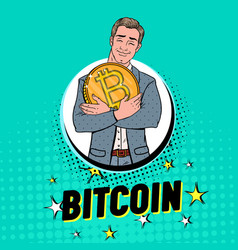Pop art businessman with big golden bitcoin coin vector