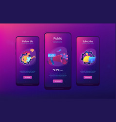 Public relations app interface template vector
