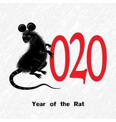 Rat mouse as symbol for year 2020 by Chinese vector