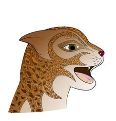red head wild cat zen tangle feline face vector image