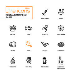 Restaurant menu - line design style icons set vector