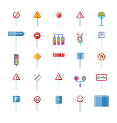 Road sings icon set cartoon style vector