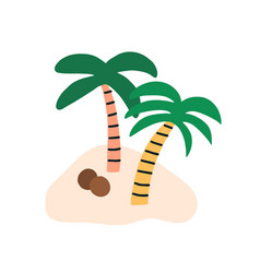 Sandy island with two coconut palm trees vector